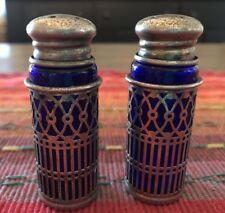 Vintage Cobalt Blue Glass & Pierced SilverPlate Filigree Salt & Pepper Shakers