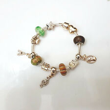 Gold Plate Music Note Eiffel Tower Murano Beads Charm Bracelet Masino Collection