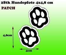 2er Aufbügler Aufnäher Patch Hundepfote schwarz-weiß Applikation 4x5 cm