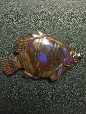 Natural 37.62 Carat Australian Boulder Opal Vintage Fish Carving Loose Gem