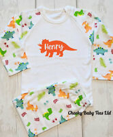 Personalised dinosaur pyjamas Boys Girls Any Name 6-12mths to 9-10 years