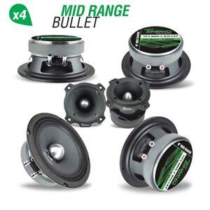 "4x Timpano TPT-MR6-4 BULLET 6.5"" Pro Audio Car Speakers + TPT-ST4-BLACK Tweeters"