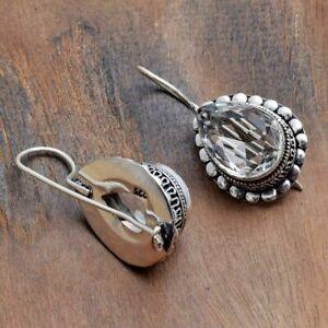 "White Topaz Handmade Antique Design Earrings Jewelry 1.36"" AE 44354"