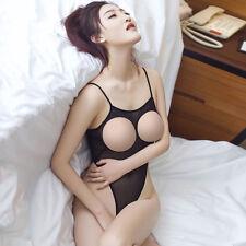 Hot&Sexy Women's Lingerie Open Bust&Crotch Backless Bodysuit Leotard Sheer Suit