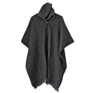 Black Llama Wool Mens Unisex Hooded Poncho Pullover Jacket Handwoven JEDI