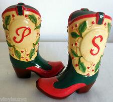 Cowboy Western Boot Ceramic Salt & Pepper Shakers Floral