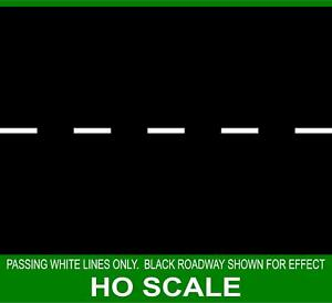 HIGHWAY STREET PASSING WHITE LINES FOR 1/87 HO SCALE PRE1970 TRAIN GARDEN LAYOUT