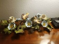 Chippy Italian Tole Candle Holder Shabby Cottage chic paint birds & flowers