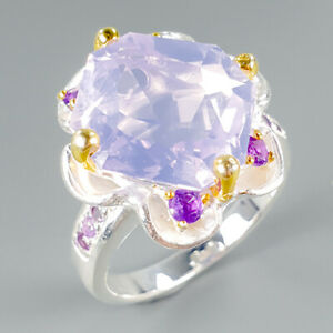 Handmade Natural Lavender Amethyst 925 Sterling Silver Ring Size 8.75/R114745