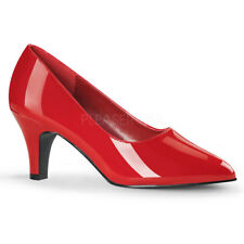 Pleaser Divine-420w 3 Inch Block Heel Classic Pump Reds 12 Red Pat