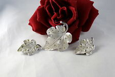 Vintage Pennino Signed Leaf   Brooch PIn  Earrings Set CAT RESCUE