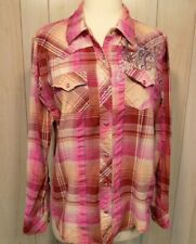 Cumberland Outfitters Woman's Western Shirt Size L Pearl Snap Pink Plaid