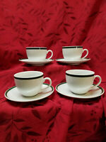 """Set of 4 WILLIAMS-SONOMA BRASSERIE GREEN Cup & Saucer 3"""" Tall 4"""" Across the Top"""
