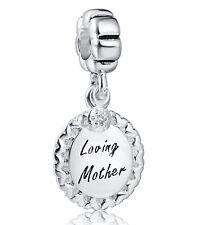 Sterling 925 Silver Loving Mother Pendants European Bead Charms Fit Bracelet Diy