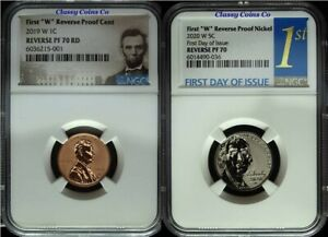"""2019 & 2020 W """"First W"""" NGC Reverse Proof 70's Jefferson Nickel & Lincoln Cent ☆"""