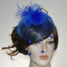 ACCESSOIRES POUR CHEVEUX Fascinator Voile à pois Parure Filet Plumes Bleu royal