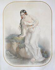 Grande Lithographie XIXème d'après Joseph Félon par Charles Vogt - Nymphe - Ida