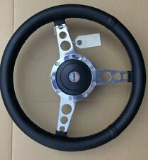 "Triumph Stag Dolomite Polished Alloy Spoke Leather 14"" Sports Steering Wheel"