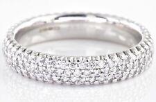 1.00ct Pave Diamond 14ct White Gold Wedding Band Full Eternity Ring M 1/2 4.12g