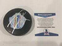 Leon Draisaitl Signed 2016 World Cup of Hockey Puck Beckett BAS COA Go Oilers a