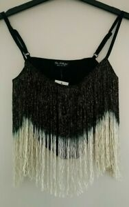 Miss Selfridge CROP TOP With Two Tone FRINGE Size 6, 8, 10, 12, 14