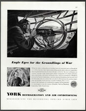 1942 Vintage Print Ad YORK refrigeration air conditioning airplane combat WWII