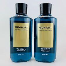 2 Bath & Body Works Midnight Men's Collection 2 in 1 Hair Body Wash 10 oz Men