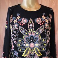 Ann Taylor Loft Black Colorful Floral Paisley Tunic Dress Size Small S
