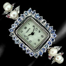 Sterling Silver 925 Genuine Natural Tanzanite, Pearl and Ruby Watch 7 Inch