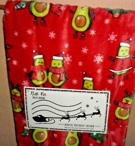 NORTH POLE POST OFFICE CHRISTMAS AVOCADO TREE SANTA HATS THROW 50x70 NEW