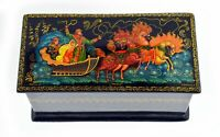 Vintage Large Palekh Russian Artisan Lacquer Wood Fairy Tail Trinket Box 11