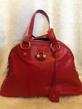 YVES SAINT LAURENT YSL MUSE RED MATTE LEATHER LARGE HANDBAG