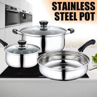 3 pcs/Set Stainless Steel Polish Cookware Cooking Fry Pots with Pan Saucepan