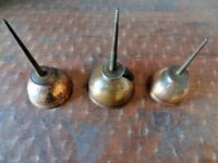 Lot of 3 Vintage EAGLE Thumb-Press Metal Oil Can USA Brass Color Nice Patina!