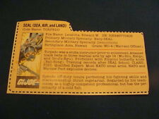 Torpedo Red Back  File Card 1983 Gi Joe Vintage