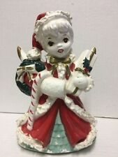 Vintage Christmas Napco 1956 Girl In Red Angel Planter S1699 Original Label