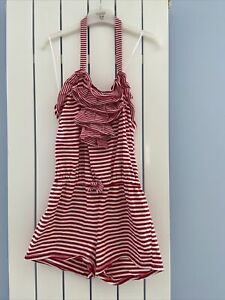 Kate Mack Striped Red White Detachable Halter neck Playsuit age 10 Ruffle Front