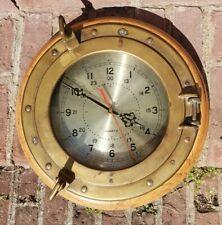 "Vtg RARE Porthole Ships Clock 13"" Marine Quartz HEAVY BRASS Nautical Decor WORKS"