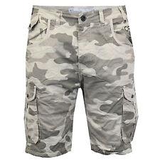 "Mens Crosshatch Camouflage Shorts Cargo Combat Knee Length Jeans Military Summer Stone - Fincamo Waist 42"""