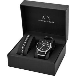 NIB Armani Exchange AX7111 Mens Stainless Steel Quartz Watch & Nylon Black Strap