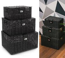LIVIVO Resin Hamper Basket Set - Black (3 Piece)