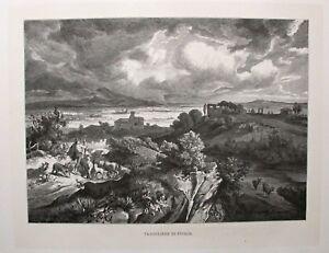 Puglia Tavogliere, Italy - Blick über die Ebene - Stich, Holzstich um 1885