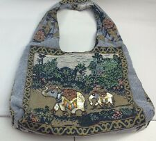 Tapestry Tote-NEW-Elephant Jungle  theme-Sequins, Beads,Intricate-SHIPS FREE