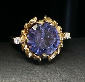 Estate 14k Yellow Gold Color Change Sapphire Diamond Accent Statement Ring