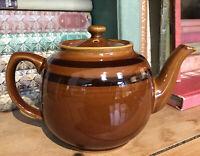 Vintage Traditional Old Fashion Teapot Brown Glazed Stripe Cottage Core Kitchen