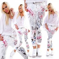 WHITE CHINO JEANS SUMMER JEANS COTTON DREAMCATCHER PRINT BLING STRASS SIZE 8 10