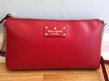 Kate Spade Wellesley Declan Leather Cross-body Bag/Purse in Pillbox red