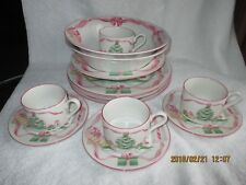 "Sango ""Home for Christmas"" Pink Trim Green Tree 14 pieces Pottery & China New"