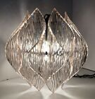 Vtg MCM Textured Clear Acrylic Lucite Swag Hanging Light Kalmar Style Chandelier