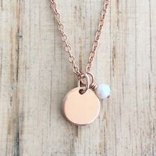 Disc Necklace Rose Gold Filled Hand Stamped  Pearl Charm Chain & Box UK Made